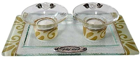 5th Avenue Collection Candle Stick With Tea Light Applique - Pearl/Gold - Tray 11 inch  W X 6 inch  L Candlesticks 2 inch  H