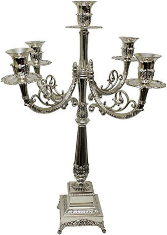 Ultimate Judaica Silver Plated Candelabra 5 Branch 20 inch H