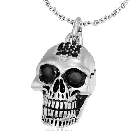 Stainless Steel Biker Skull Pendant With Jet Black CZ And Bead Chain 24 inch