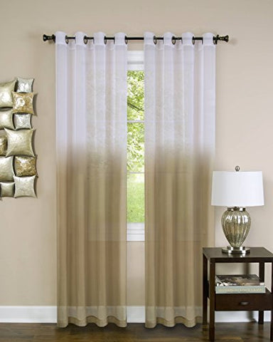 Quintessence Set of 2 Ombre Sheer Window Curtain Panels (52 inch  x 63 inch ) - Tan