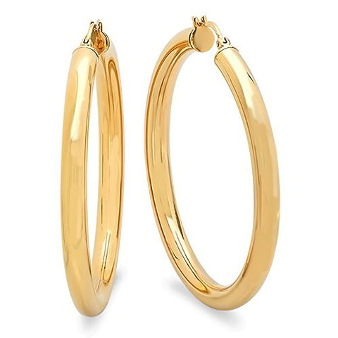 Ben and Jonah Ladies Yellow 50MM Thick Hoop Earrings