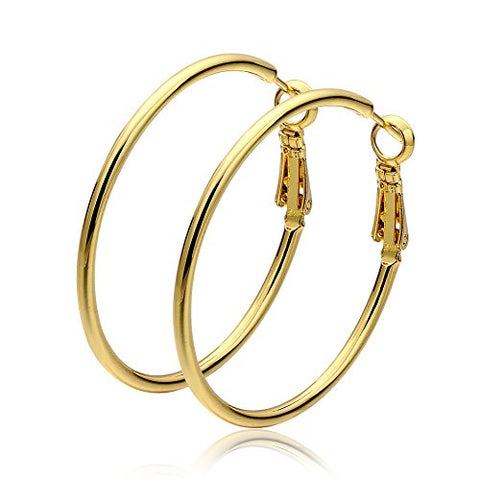 Lady's Brass Gold Plated Hoop Earring - 4cm x 4.2cm