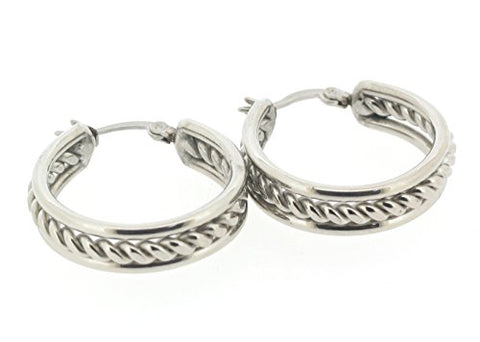 Ben and Jonah Stainless Steel Hoop Earring with Inner Braid Design