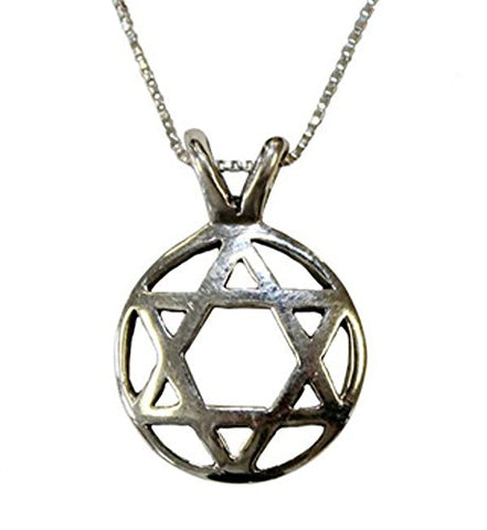 Silver Star of David Necklace - Chain 18 inch  Pendant 1/2 inch D