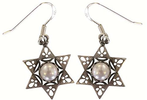 Silver Star Of David Earrings With Pearl - Star 6/8 inch  X 6/8 inch