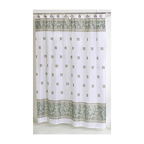 Park Avenue Deluxe Collection Park Avenue Deluxe Collection  inch Windsor inch  Fabric Shower Curtain in Jade