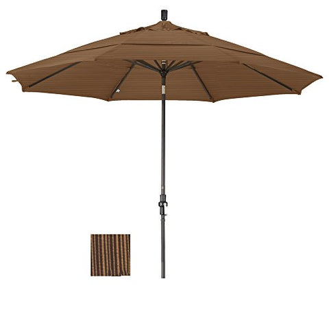 Eclipse Collection 11' Aluminum Market Umbrella Collar Tilt Bronze/Olefin/Terrace Sequoia/DWV