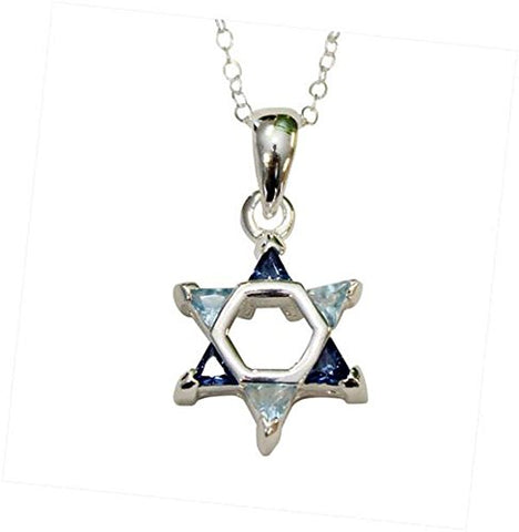Silver Star of David with Multi Blue  Color Stones Necklace - Chain 18 inch  Pendant 1/2 inch W X 1 inch H