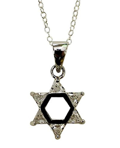 Silver Star of David with White Color Stones Necklace - Chain 18 inch  Pendant 1/2 inch W X 1 inch H