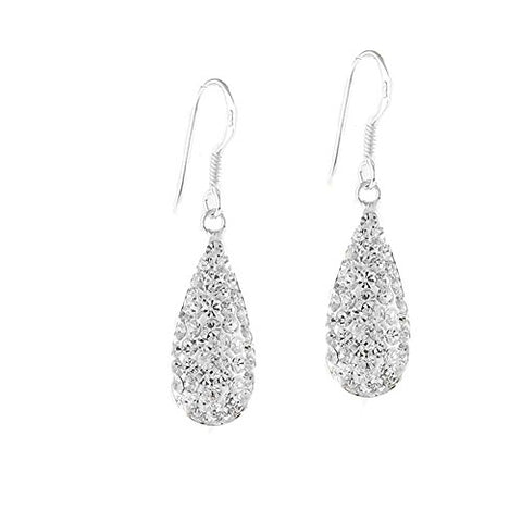 Ben and Jonah Fancy 925 Silver Tear Drop Hook Earrings with Clear Stones