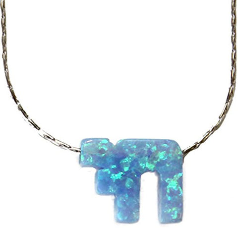 Opal Blue Chai With Silver Necklace - Chain 18 inch  Pendant 1/4 inch  W 1/4 inch  H