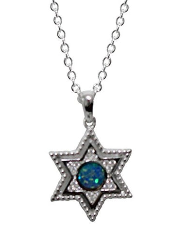 Ultimate Silver Star of David Amultet with Opal and Micro CZ Stones - Chain 18 inch  Pendant 3/4 inch