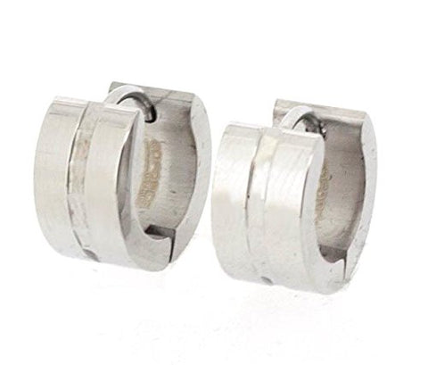 Edforce Stainless Steel Huggie Earring with Stylish Channel