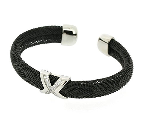Ben and Jonah Stainless Steel Ladies Fancy Mesh Cuff Bracelet with X and Stones Design Black Plated