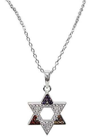 Silver Star Of David Necklace With Multi Color Stones - Chain 18 inch  Pendant 1/2 inch H X 1/2 inch W