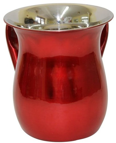 Ultimate Judaica Wash Cup Stainless Steel Shiny Red - 5.5 inch H