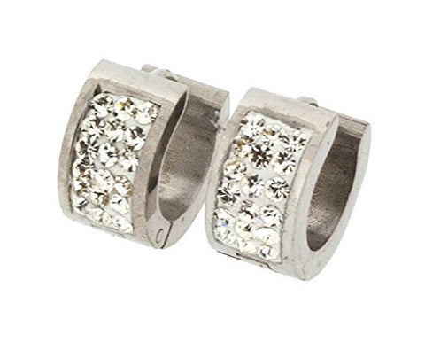 Ben and Jonah Stainless Steel Huggie Earring with 3 Rows of Clear Stones