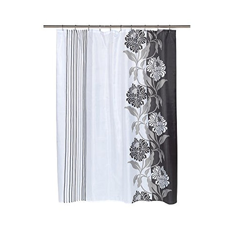Park Avenue Deluxe Collection Park Avenue Deluxe Collection Extra Long  inch Chelsea inch  Fabric Shower Curtain in Black/White