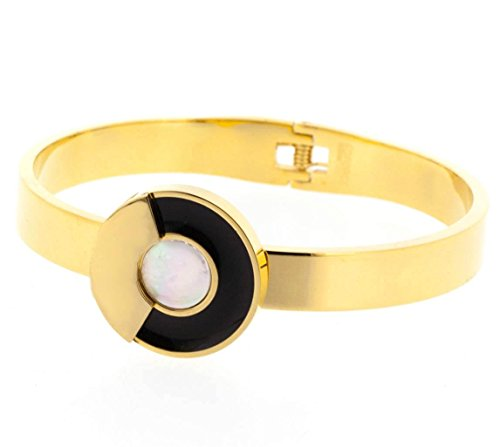 Ben and Jonah Stainless Steel Mother of Pearl Circle Bracelet with Hinge Gold Plated