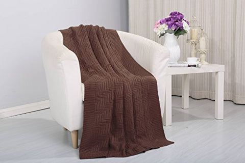 Tejido Collection Classic Woven Knitted Throw Blanket (50 inch  x 60 inch ) - Chocolate