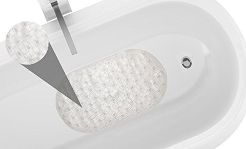 Park Avenue Deluxe Collection Park Avenue Deluxe Collection Weave Look Vinyl Bath Tub Mat Size 15 inch x27 inch  in Clear