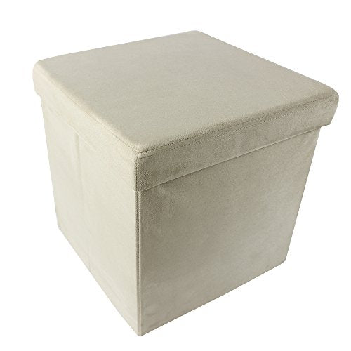 Ben&Jonah Collection Collapsible Storage Ottoman - Camel Suede 15x15x15