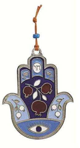Ultimate Judaica Metal Hamsa Lg Pomegranate Design Blue - 4 1/2 inch  H X 3 1/2 inch  W