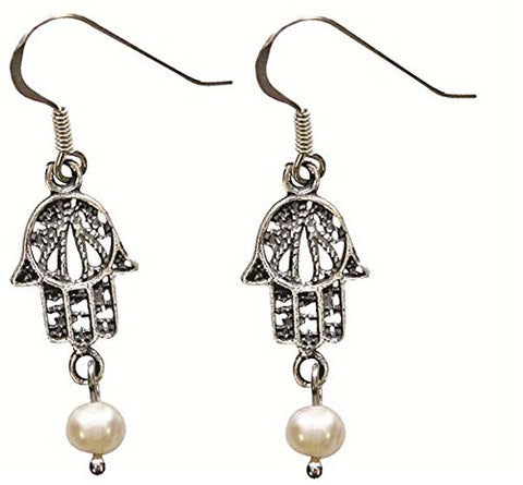 Vintage Silver Hamsa Amulet Earrings With Pearl - 7/16 inch  W X 15/16 inch  H