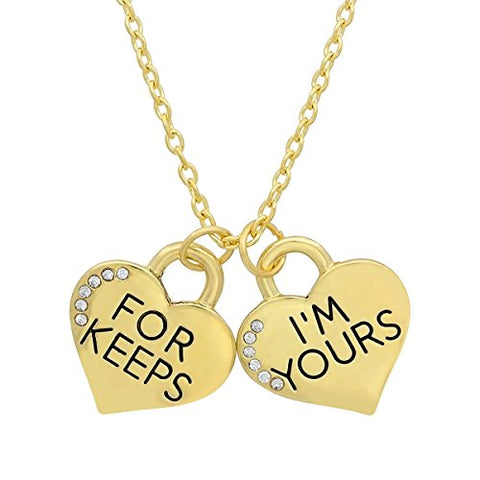 Lady's 18K Gold Plated Alloy 'I'M Yours For Keeps' Heart Pendants with Swarovski Elements