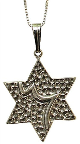 Silver Star Of David Necklace - Chain 18 inch  Pendant 3/4 inch  H 3/4 inch  W