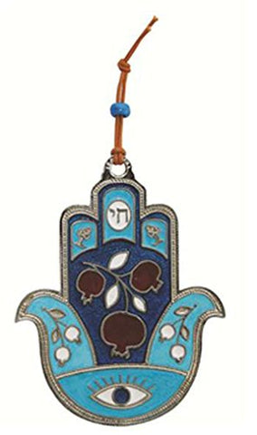 Ultimate Judaica Metal Hamsa Lg Pomegranate Design Teal - 4 1/2 inch  H X 3 1/2 inch  W