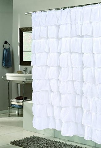 The Conquistador Collection Flamenco Tiered Crushed Voile Fabric Shower Curtain (70 inch  x 72 inch ) - White