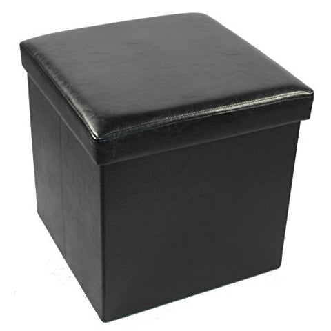 Ben&Jonah Collection Collapsible Storage Ottoman - Black Faux Leather 15x15x15