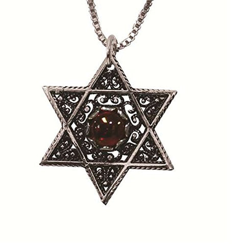 Silver Star Of David Necklace With Red Stone - Chain 16 inch  Pendant 7/8 inch  W X 1 inch  H
