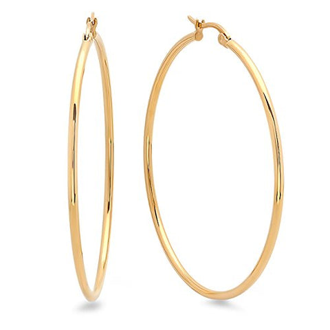 Ben and Jonah Ladies 18k Gold Plated 50mm Hoop Earrings