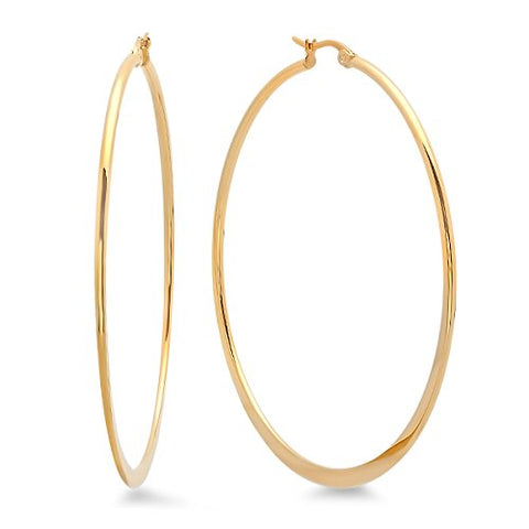 Ben and Jonah Ladies 18k Gold Plated Stainless Steel 60mm Hoop Earrings