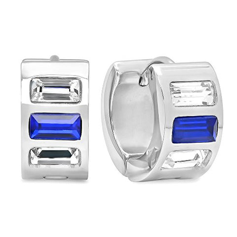 Ben and Jonah Ladies Stainless Steel White and Blue Simulated Diamond Layered Huggies