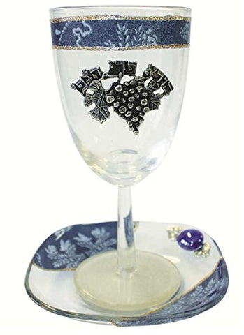 Glass Kiddush Cup with Plate Applique - Blue - Cup 6.5 inch  H - Plate 5 inch  x 5 inch