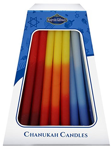 Lamp Lighters Ultimate Judaica Chanukah Candles - European Collection - 45 Pack -Blue/Red/Orange - 6 inch