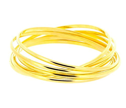 Ben and Jonah Stainless Steel Gold Plated Set of Seven Interlocked Lady's Bangles - Semanario