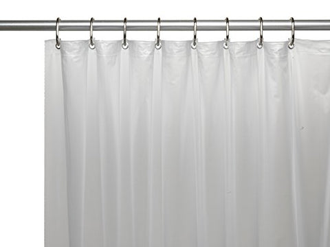 Park Avenue Deluxe Collection Park Avenue Deluxe Collection 3 Gauge Vinyl Shower Curtain Liner w/ Weighted Magnets and Metal Grommets in Frosty Clear