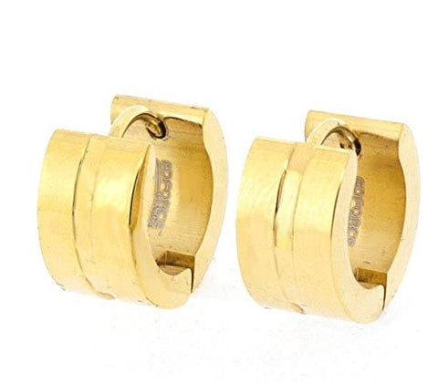 Ben and Jonah Stainless Steel Gold Plated Huggie Earring with Stylish Channel