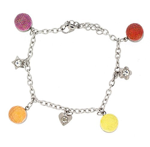 Ben and Jonah Stainless Steel Bracelet with Colorful Balls and Charms with Extension