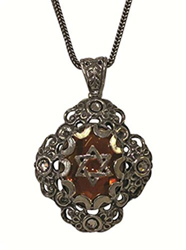 Silver Necklace With Smoked Star of David Pendant - Chain 21 inch  Pendant 1 inch  W X 1 1/4 inch  H