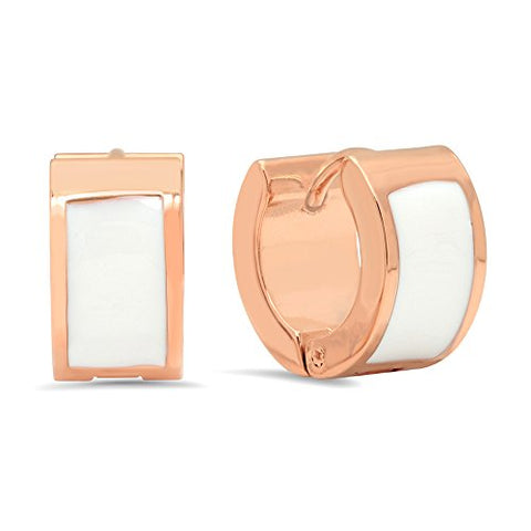 Ben and Jonah 18k Rose Gold Plated Stainless Steel Huggies with White Enamel