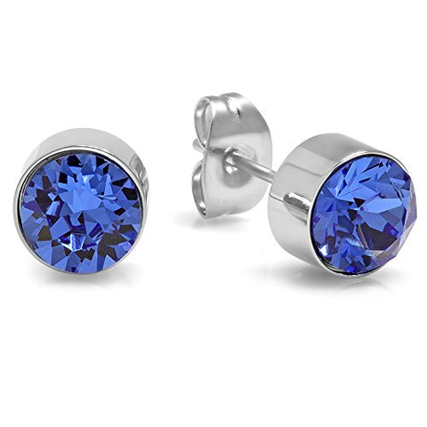Lady's Stainless Steel 7mm Blue Swarovski Elements Stud Earrings