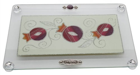 Ultimate Judaica Challah Tray On Legs - Rainbow Pomegranate Silver Outline