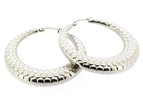 Ben and Jonah Stainless Steel Hoop Earring with Dragon Scale Design 50mm