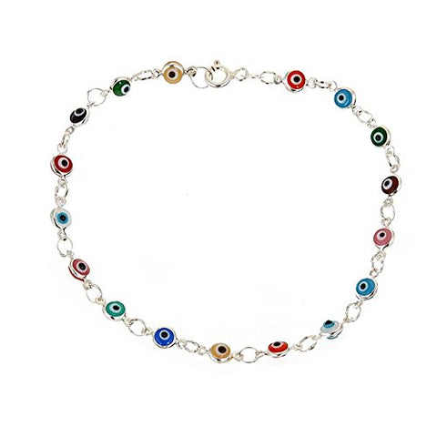 Ben & Jonah 925 Sterling Silver Multi Colored Evil Eye 8 inch  Bracelet