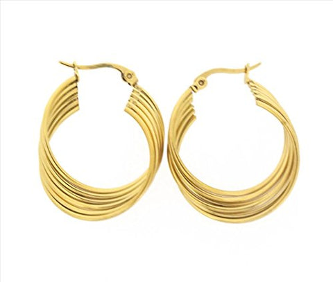 Ben and Jonah Stainless Steel Gold Plated 6 Layered Twisted Hoop Earring (20mm)